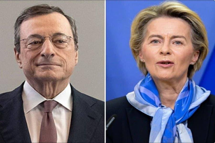 Draghi e Ursula Von der Leyen